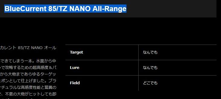 どうしても買いたかったBlueCurrent 85/TZ NANO All-Rangを注文するという話